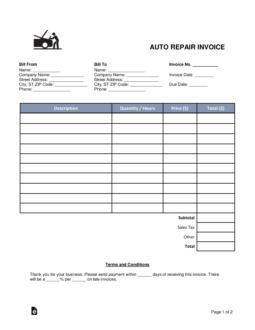 77 Report Car Repair Invoice Template Pdf Templates with Car Repair Invoice Template Pdf