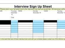 Interview Schedule Calendar Template