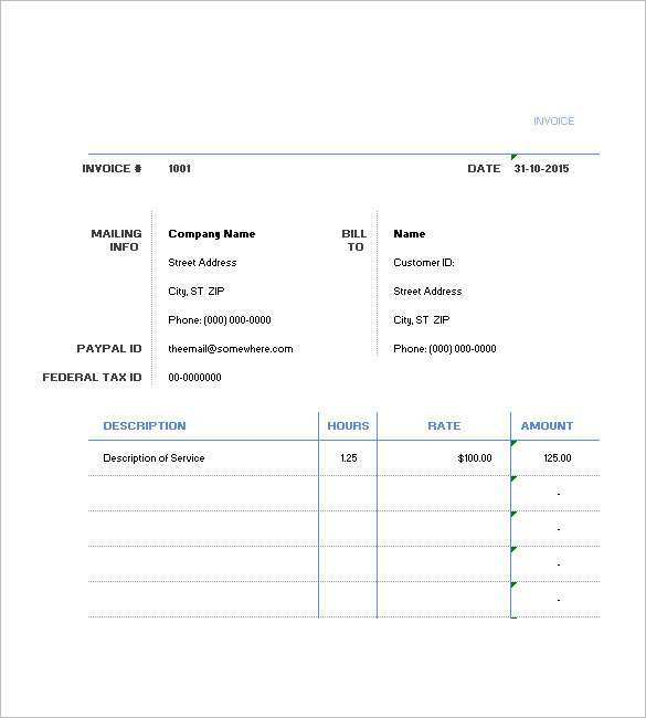 78 Printable Hourly Invoice Template Word Photo with Hourly Invoice Template Word