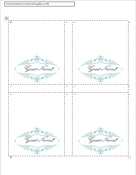 78 Printable Table Name Card Template A4 Download with Table Name Card Template A4