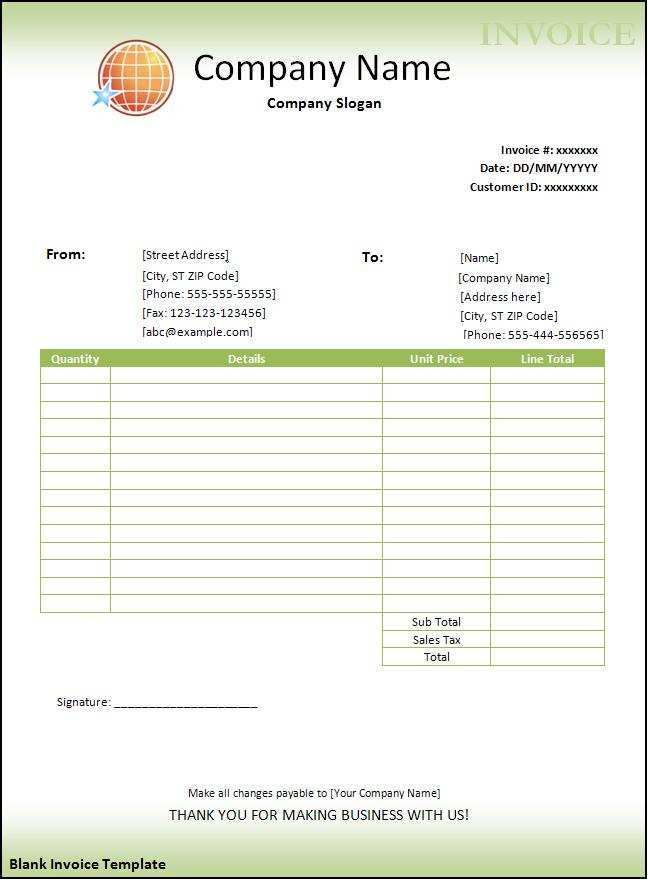 78 The Best Microsoft Fice Blank Invoice Template For Ms