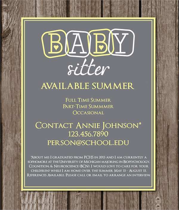 79 Format Babysitting Flyer Free Template Now by Babysitting Flyer Free Template