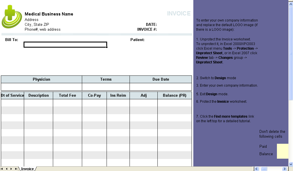 79 Printable Blank Medical Invoice Template for Ms Word for Blank Medical Invoice Template