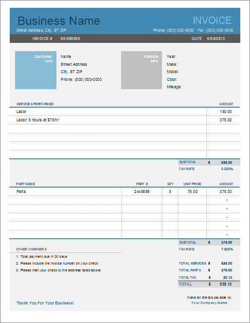 79 Report Car Repair Invoice Template Excel Maker with Car Repair Invoice Template Excel