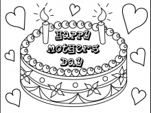 Mothers Day Cards Colouring Templates