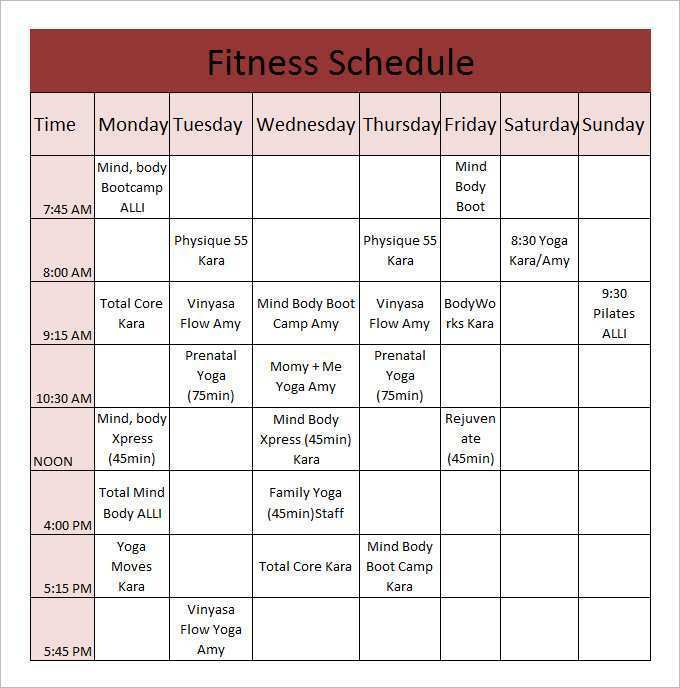 Exercise Schedule Template from legaldbol.com