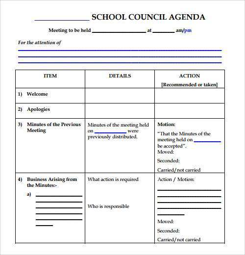 Council Meeting Agenda Template from legaldbol.com