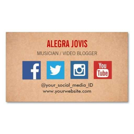 business card template with facebook and instagram logo