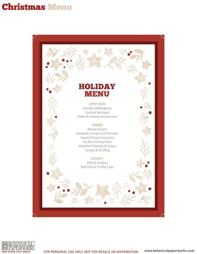 83 Free Christmas Menu Card Template Free Maker With