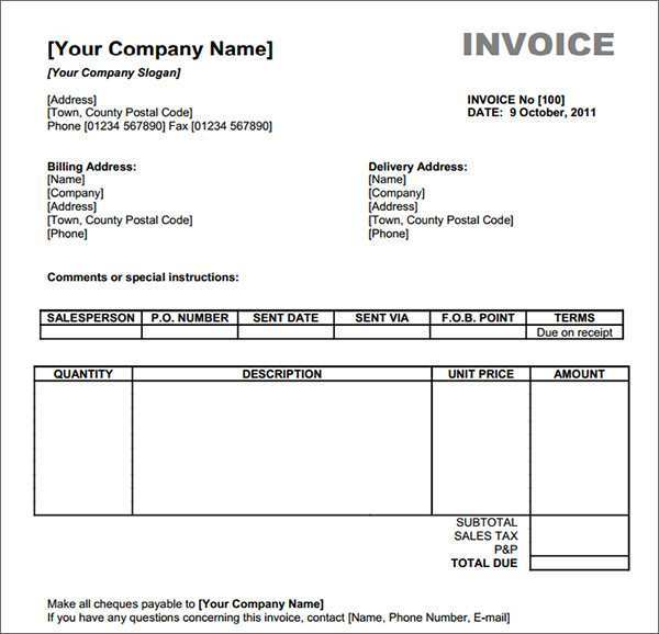 84 Creative Company Invoice Template Word Now with Company Invoice Template Word