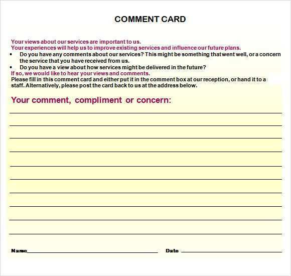 84 Free Printable Comment Card Templates Word in Word with Comment Card Templates Word