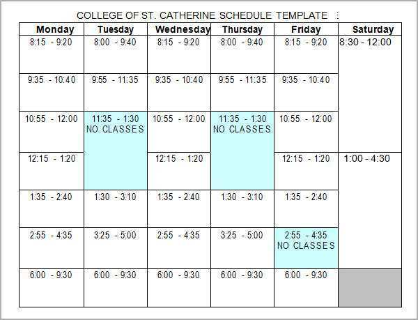 85 Adding College Class Schedule Template Word For Free for College Class Schedule Template Word