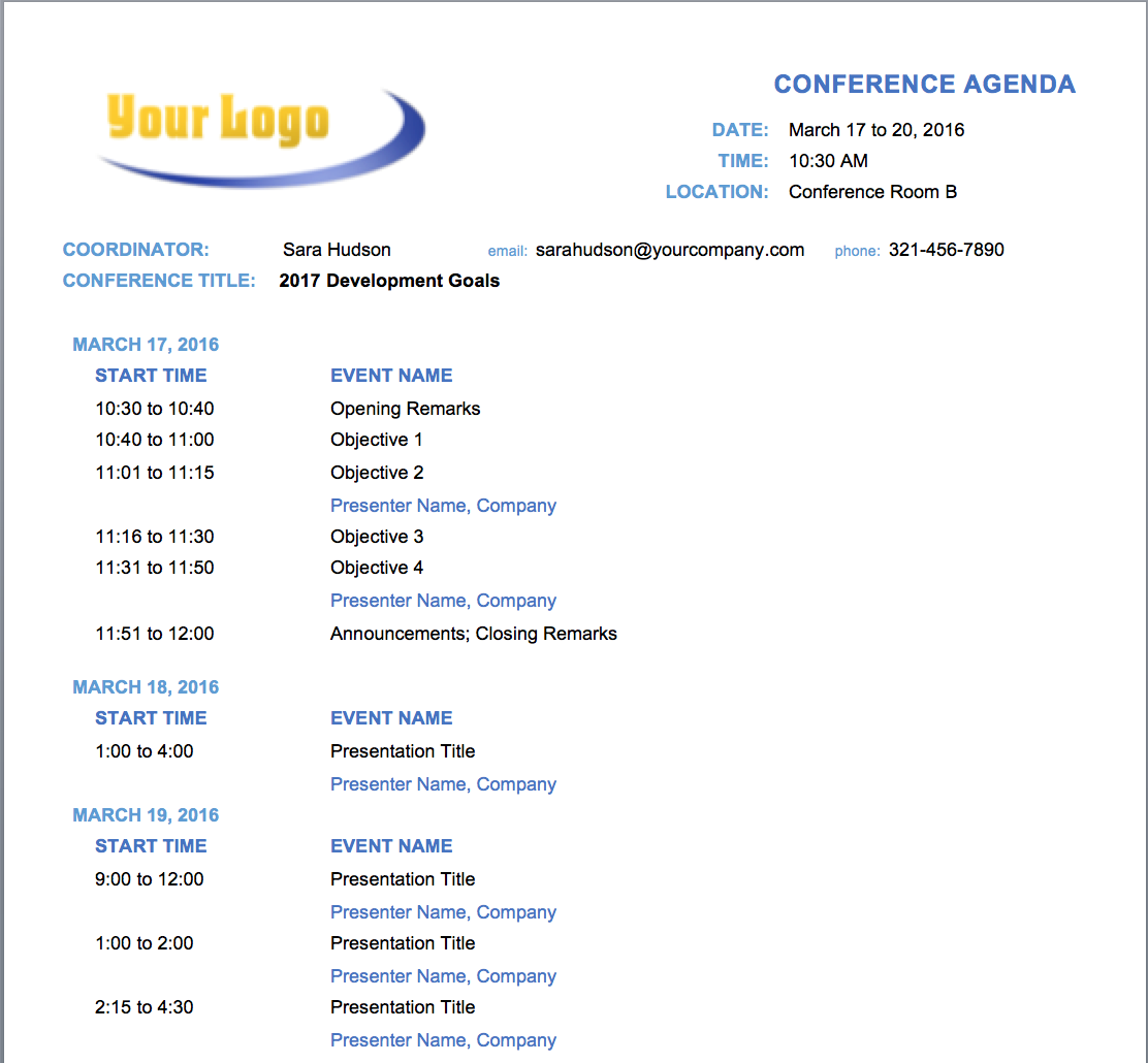85 Free Conference Agenda Template Doc Formating for Conference Agenda Template Doc