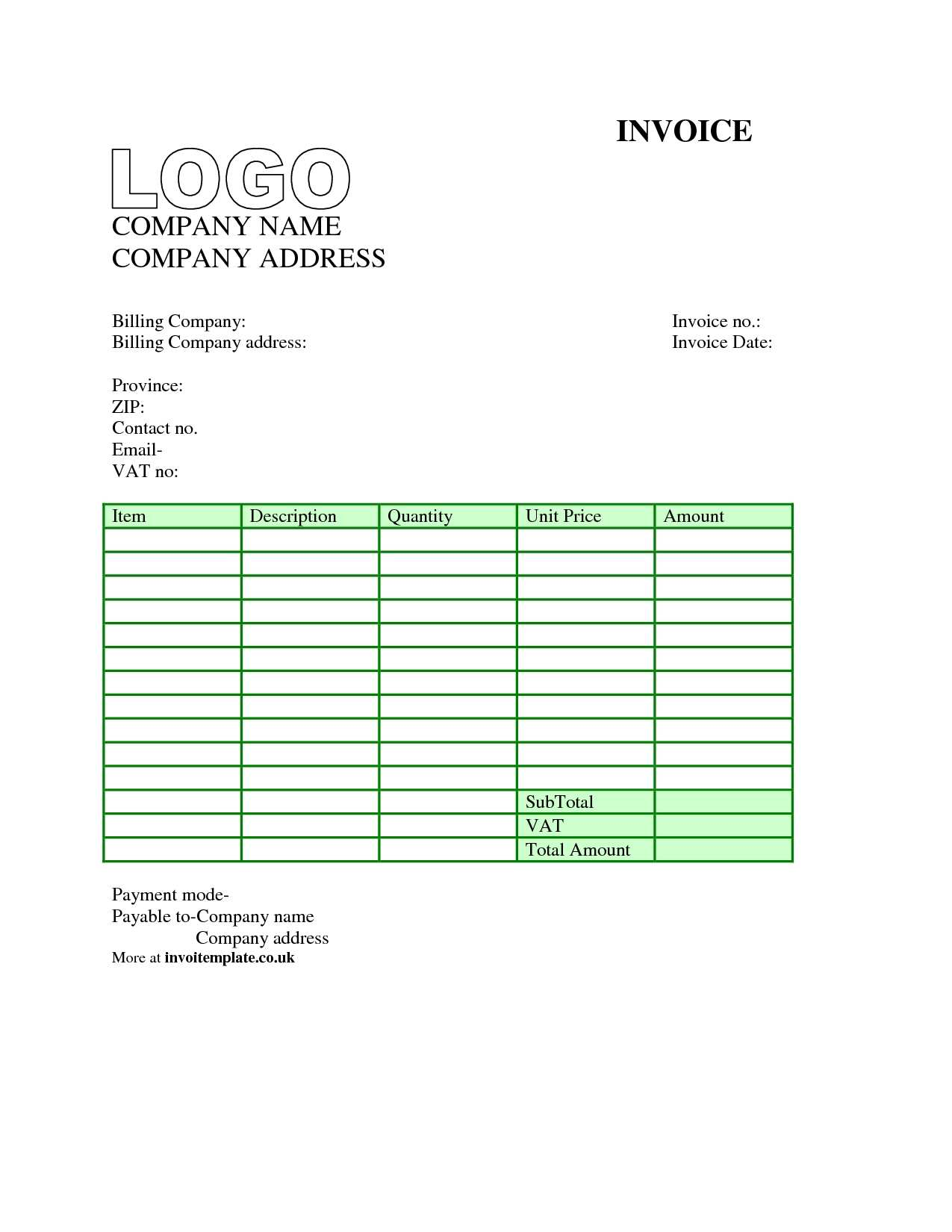 85 Standard Blank Invoice Template For Microsoft Excel in Photoshop with Blank Invoice Template For Microsoft Excel