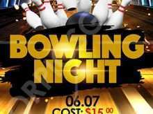 86 Format Bowling Night Flyer Template in Photoshop for Bowling Night Flyer Template