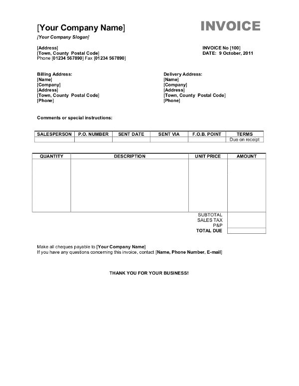 87 Create Company Invoice Format In Word Now by Company Invoice Format In Word
