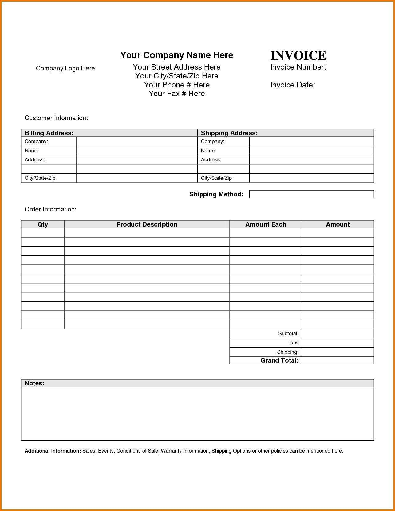 88 Report Blank Invoice Template Pdf Now for Blank Invoice Template Pdf