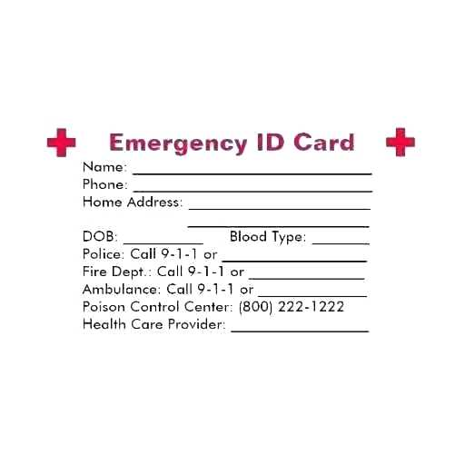 89 Blank Emergency Id Card Template Photo with Emergency Id Card Template