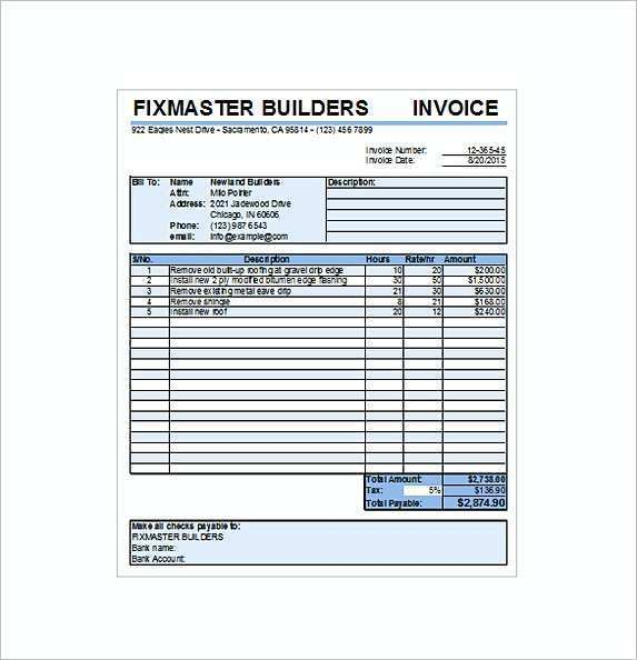 89 Free Roofing Contractor Invoice Template In Photoshop By Roofing Contractor Invoice Template Cards Design Templates