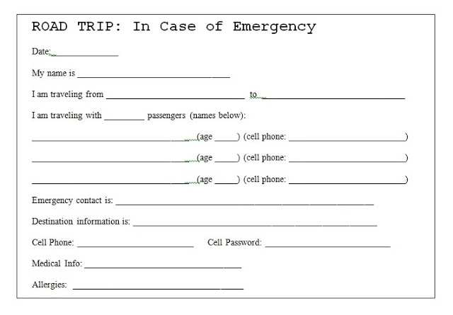 Printable Emergency Card Template from legaldbol.com