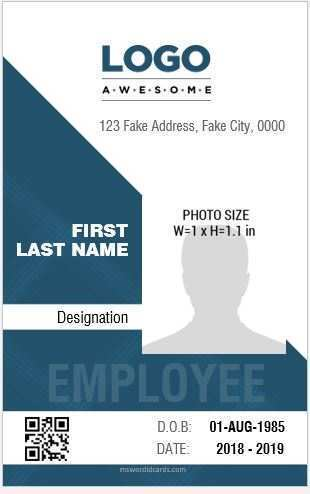 90 Printable Horizontal Id Card Template Word for Ms Word by Horizontal Id Card Template Word