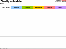 Workout Class Schedule Template