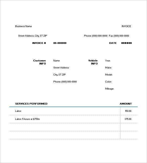 91 Blank Car Repair Invoice Template Pdf Now by Car Repair Invoice Template Pdf