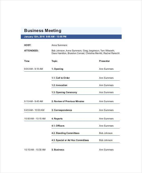 91 Online A Meeting Agenda Example in Word by A Meeting Agenda Example