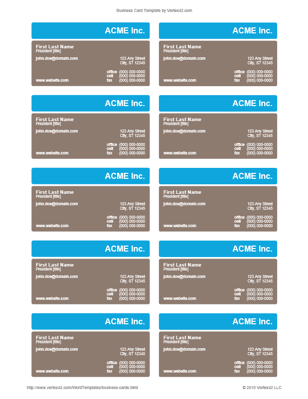 91 Visiting Business Card Templates Vertex42 in Photoshop for Business Card Templates Vertex42