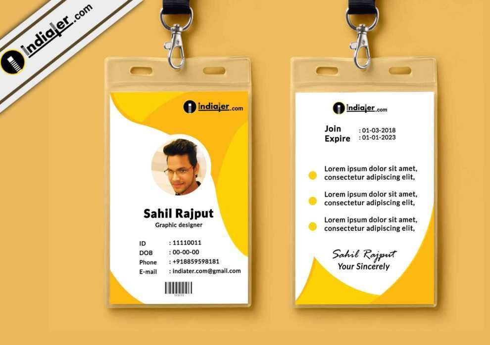 92 Adding Yellow Id Card Template PSD File with Yellow Id ...
