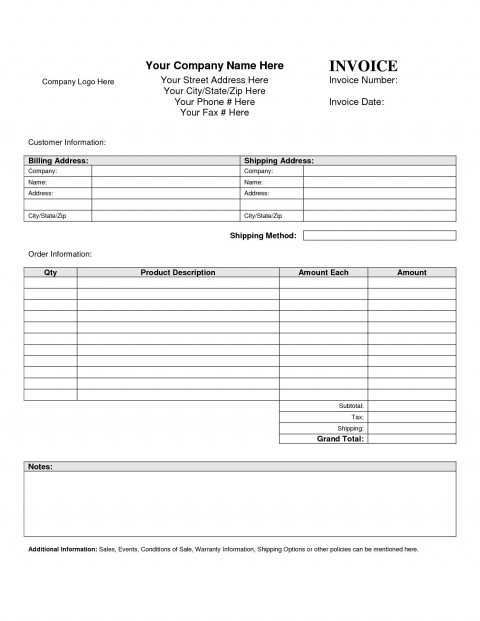 92 Best Blank Business Invoice Template in Word with Blank Business Invoice Template