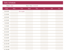 Daily Calendar Template By Half Hour