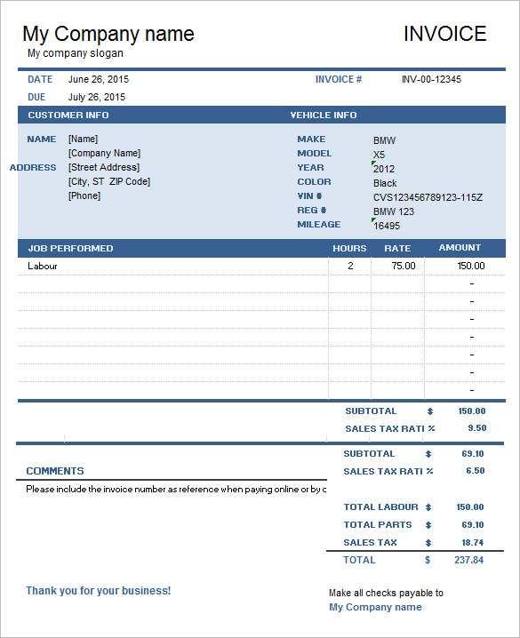 92 How To Create Car Repair Invoice Template Pdf PSD File by Car Repair Invoice Template Pdf