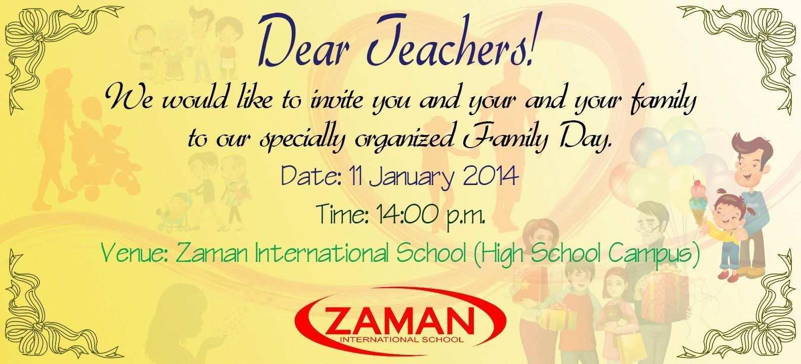 Invitation Card Format For Teachers - Cards Design Templates