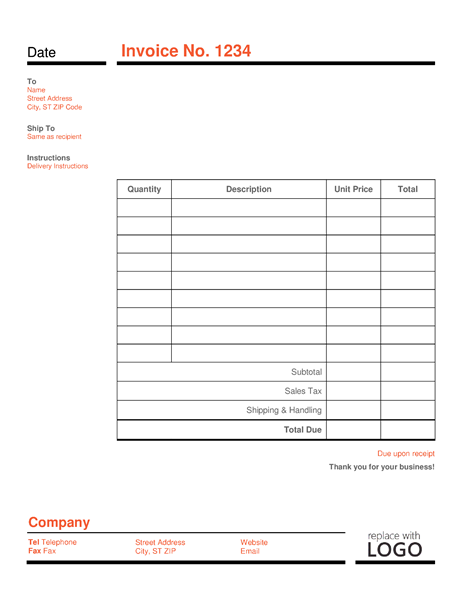 93 Best Basic Company Invoice Template for Ms Word with Basic Company Invoice Template