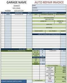 Repair Shop Invoice Template Excel Cards Design Templates