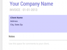 Monthly Payment Invoice Template