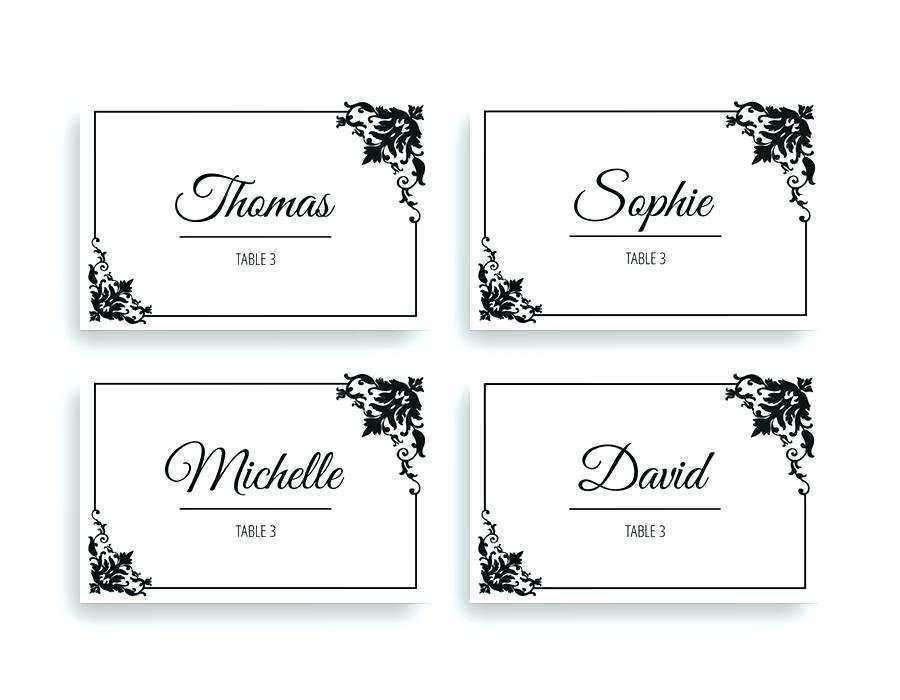 93 The Best Name Card Template For Table Settings Maker by Name Card Template For Table Settings