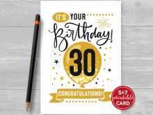 94 Blank 30Th Birthday Card Template With Stunning Design for 30Th Birthday Card Template