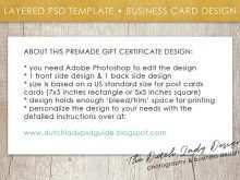Gift Certificate Template Business Card Size