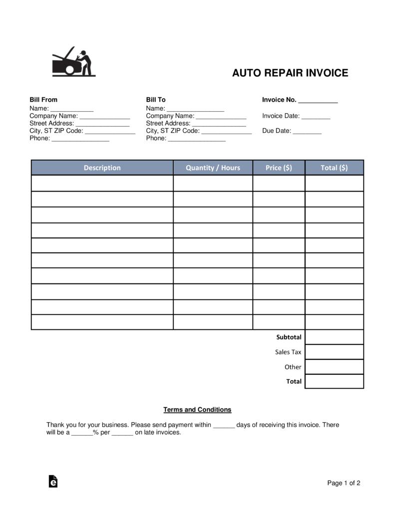 94 Format Body Repair Invoice Template Download for Body Repair Invoice Template
