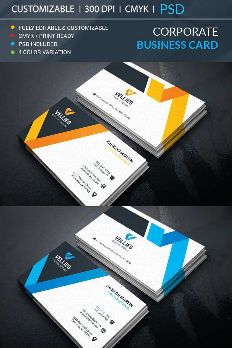 94 Free Printable Business Card Corporate Templates With Stunning Design for Business Card Corporate Templates