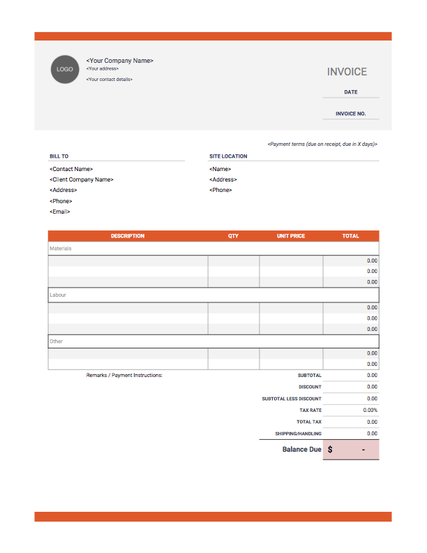 94 Online Construction Invoice Template in Photoshop with Construction Invoice Template