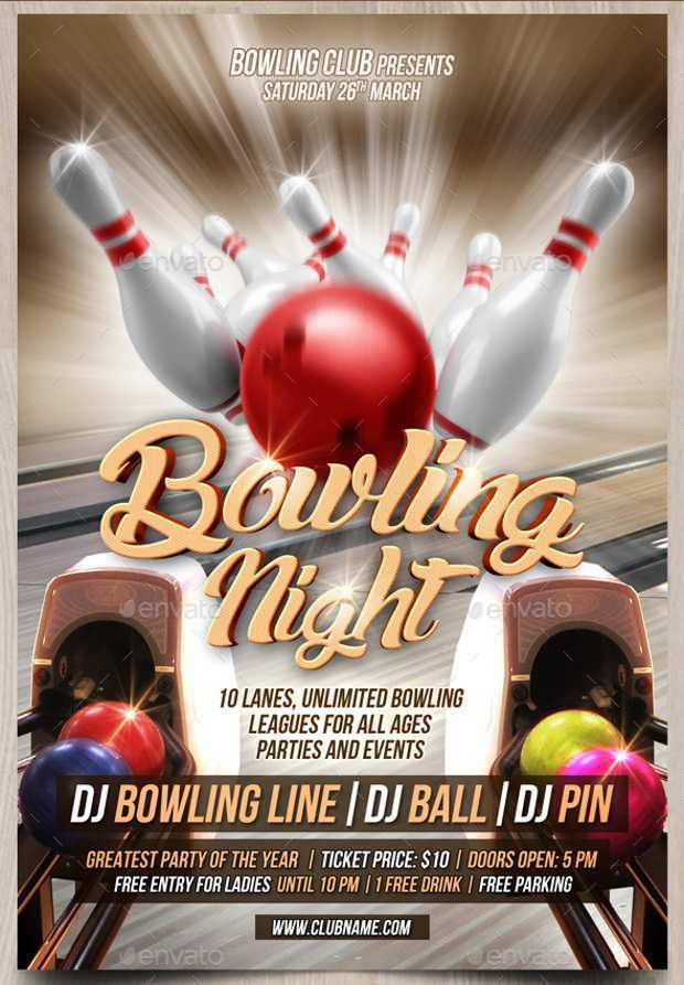 95 Customize Our Free Bowling Night Flyer Template For Free with Bowling Night Flyer Template