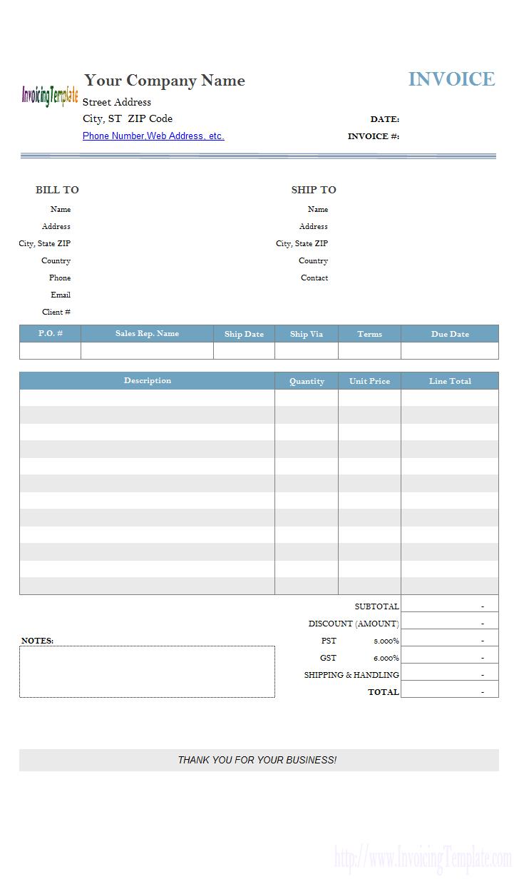 Gst Invoice Template Xls Cards Design Templates