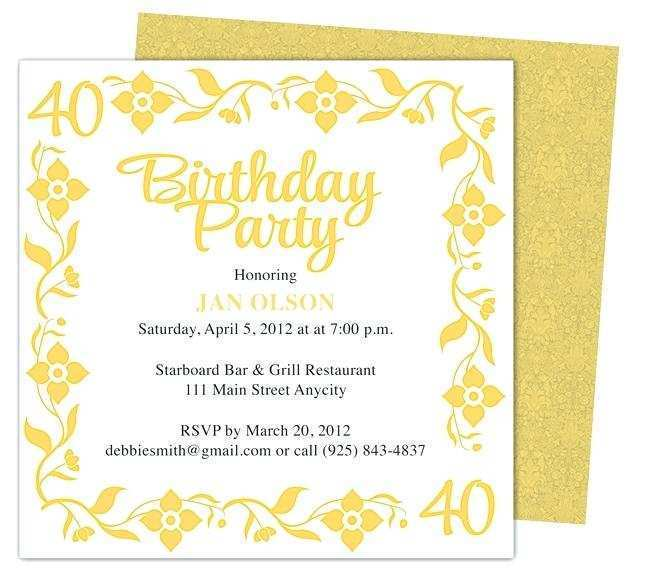 95 Format 40Th Birthday Card Template Word Download with 40Th Birthday Card Template Word