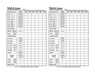95 Standard Yahtzee Card Template Layouts for Yahtzee Card Template