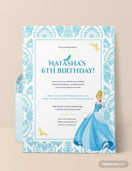96 Best Cinderella Birthday Card Template Formating for Cinderella Birthday Card Template