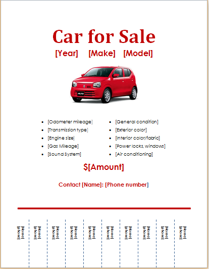 96 Standard Car For Sale Flyer Template for Ms Word for Car For Sale Flyer Template