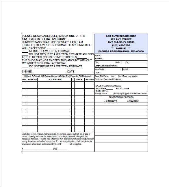 97 Creating Car Repair Invoice Template Pdf Download with Car Repair Invoice Template Pdf